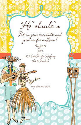 Invitations glitter gems invitations tiki lounge this is a great invitation for any luau party perfect for an engagement luau or stopboris Gallery