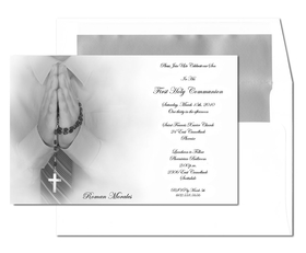 This is an EXCLUSIVE card that will only be available on our site!  This beautiful communion card adds an extra touch of elegance to that special event. It portrays a young boys hands in prayer holding a rosary.  Can be used for Twins and Triplets.  Comes with  white envelope that is SILVER LINED.  This is a great added touch!