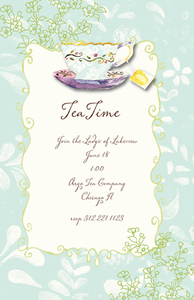 A beautiful tea cup invitation with a light blue floral background and a light green simple floral print that runs along the top and bottom of the border of this design.  This invitation is printed on a heavy cream card stock and includes a coordinating envelope.