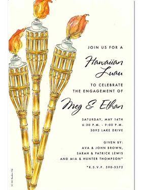 A great tiki invitation for any Luau- themed party!  This card is printed on an ivory card stock and has three tiki torches bordering your text area.  Includes an ivory envelope.