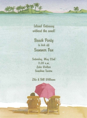 This invitation features a tropical beach scene with a couple sitting in the sun and a pretty pink umbrella overhead.  This makes a great tropical destination engagement invitation or save the date announcement.  Inlcudes white envelope. Inkjet/laser compatible or let us print them for you!
