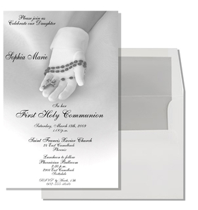 Communion Glove Invitation - New Communion Item!  This is an EXCLUSIVE card that will only be available on our site!  This beautiful communion card adds an extra touch of elegance to that special event. It portrays a young girls gloved hands  holding a rosary.  Can be used for Twins and Triplets.  Comes with  white envelope that is SILVER LINED.  This is a great added touch!