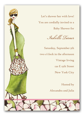 This stylish baby shower invitation from the Bonnie Marcus Collection features a chic mother-to-be in a flowing green dress and strappy heels with a designer handbag.  A pretty floral pattern borders the bottom.  Printed on premium quality white cardstock and white envelopes are included.