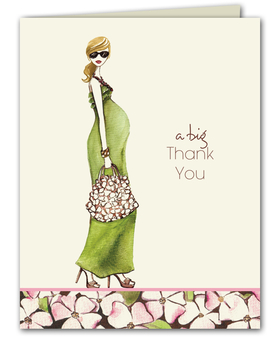 A fashionable folded note card that is printed on premium quality white cardstock.  This design features an expecting mom with a flowing green dress and a floral hand bag and heels.  White envelopes are included.  Glitter upgrade is available for an additional  .50 per card.  Glitter is added to the necklace and bracelet.