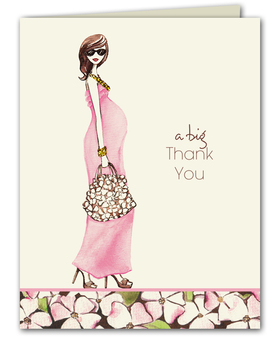 Printed on premium quality white cardstock, this fashionable folded note card makes the perfect thank you card!  This design features an expecting mom with a flowing pink dress and a floral hand bag and heels.  White envelopes are included.  Glitter upgrade is available for an additional .50 per card.  Glitter is added to the necklace and bracelet.