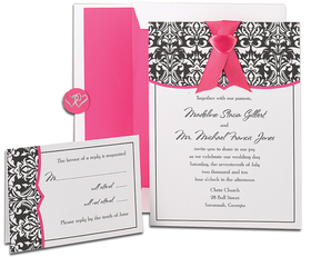 Perfect for a elegant spring wedding.  A mix of black damask design with a bold fuchsia accent make a great combination for any formal affair.  this set comes with 50 5.5&quot;x7.75&quot; invitations and envelopes, 50 note cards and envelopes, plus 50 coordinating seals.  Card stock is .65lb text.  <B>Please specify in the personalization box your personalized text for invitation and a seperate text for the note card, please limit text on note card to 5 lines of text.  We do not personalize the inside of the card.  If no personalization is indicated on the order we will ship notecards blank.<B>