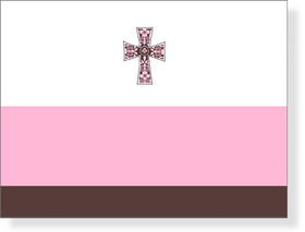 A feminine pink and chocolate note card that displays a beautiful cross in the center of a white background.  Includes white envelope.