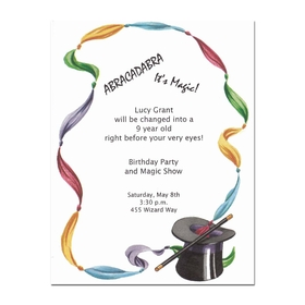 This fun magician themed invitation is designed with a colorful stream of scarves that flows around the border and in the lower corner is a  black top hat and wand.  Printed on premium quality, white cardstock.  Includes white envelope.  Inkjet/laser compatible or let usu print them for you!