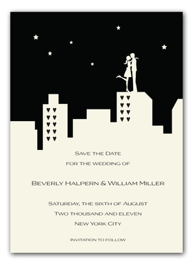 <b>30 AVAILABLE AT SALE PRICE! </b><br><br>A stylish black and white silhouette of a couple in love on top of the cityscape.  Printed on premium ivory card stock.  Includes a coordinating ivory envelope.