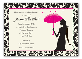 This sophisticated bridal shower design features a black damask border and a womans silhouette holding a hot pink umbrella.  Printed on premium quality white cardstock and white evelopes are included.