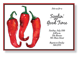 DISCONTINUED<br><br><br>A great chili pepper design that is printed on a white card stock and has a bold red and black border with a watercolor designed look with three chili peppers on the side that are Brightly colored.  Includes white envelope.