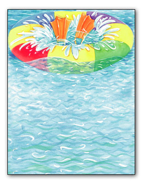 Summer swimming fun!  Be sure to bring your flippers and inner tube along.  This colorful, water-wavy paper is sure to be a splash success for your pool party! Its decorated with all the gear you need, and the splashing waves too. Make an impression with our premium quality designer 8.5x11 laser paper & coordinating envelopes which are laser/inkjet compatible. Coordinating envelopes are sold separately.