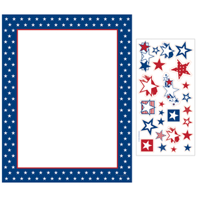 Great 4th of July paper!  This festive and patriotic paper comes in packs of 100 sheets and includes a sheet of 25 star stickers.  Great for any Barbeque or company party for Independence Day! Envelopes are sold seperate.