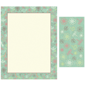 A light blue laser paper that had a thin brown border and the edging has birds with a simple floral print.  This paper in sold in packs of 100 and comes with a set of 25 coordinating stickers.  Solid color envelopes are available but are sold seperately.