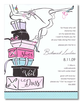 Discontinued item.<br><br>A Great paper for any Bridal shower party.  this laser paper is designed with a colorful stack of girfs and wedding day essentials that is topped with a bride holding a glass of champagne in celebration of the big day!