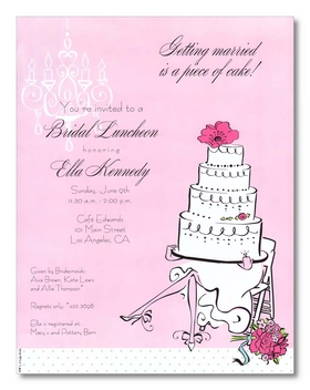 Discontinued item. <br><br>A fun and feminine bridal shower paper.  This paper is designed with a pink background and has a layered wedding cake sitting on a brides lap with a flower on top and to the side.  The base of the paper has a white with green border at the bottom of this paper.  Also has a white chandelier that hangs on the left corner of the paper.