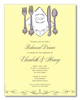 A light yellow polka dot designed background and a set of silverware with a monogramed area for your initials this laser paper makes a perfect impression for any spring time wedding rehearsal dinner.  A small scroll design completes this great laser paper.