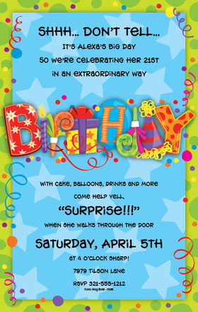 The perfect invitation for your Birthday Bash! Digitally printed for bright, crisp colors, the word BIRTHDAY is printed in fun patterns and colors that get the party started!  The background is blue with stars and the bright green border is decorated with polka dots and confetti.  Available personalized only. Includes white envelopes.