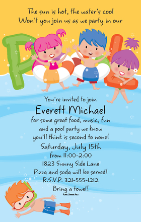If you are having a pool party for your little fish, this is a great way to send your news! A perfect invitation for a swim party, or water park get together.  This invitation is designed with a wave of water in the back ground and the word pool is spelled out with kid-filled floaties soaking up the fun!  Includes white envelope.
