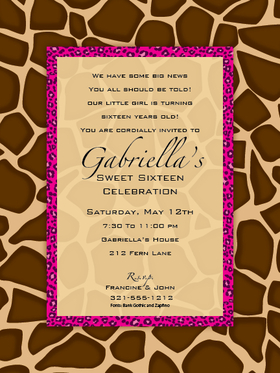 This versatile invitation features a sophisticated giraffe patterned border with a slim frame around the personalization area in a fun hot pink cheetah pattern.  Perfect for a ladies night out or milestone birthday party!  White envelopes are included.