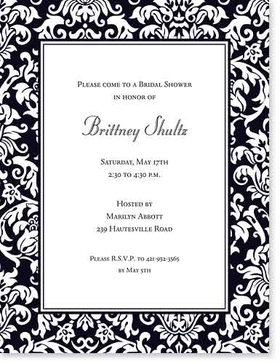 <br><b>OUT OF STOCK</b><br><br>Beautiful black and white damask elegant laser paper.  Perfect for an formal get together.  This 8.5 x 11 inch paper can be used as a wedding announcement, rehearsal dinner announcement or engagement party invitation.  Envelopes sold seperately.