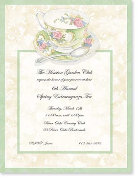 Great for a ladies tea announcement! This beautiful laser paper is designed with a feminine floral tea cup at the top center of the announcement and is accented with a green and tan background.  Envelopes are sold separately.