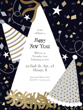 A perfect invitation to bring in the New Year! This invitation has three patterned party hats and flying gold and silver colored confetti around the card.  This card is accented with gold foiling.  Includes white envelopes.