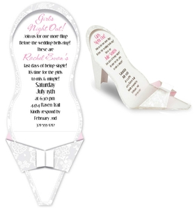 A Unique and fun invitation for any bridal shower!  This invitation is a die-cut invitation, when slipped from the envelope it folds to a standing high heeled shoe.  This fun high heel is decorated with white and gray floral pattern on the front of the shoe and accented in light pink and is white on the inside.  This makes a one of a kind bridal shower announcement or girls night out invitation.  Includes white envelope.