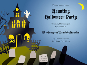 Haunted House  - This invitation is sure to be a great start to a fun halloween bash!  This invitation is designed with a dark blue background and has a haunted house full of our favorite haunting characters such as jack-l-lanterns, cats and ghosts.  a line of headstones complete this great design. Includes white envelopes.