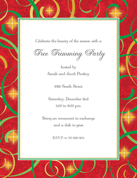 A Bright border laser paper that is perfect for the holidays.  this invitation has a bold red border accented with green swirls and gold colored stars.  Perfect for your next christmas or holiday event.  colored envelopes are available but are sold seperately.