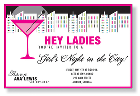 Cosmo City  - A great invitation for A ladies night on the town!  This ivitation is designed with a Hot Pink border and a brightly lit city skyline in the background.  A large Hot pink martini says it all for this Night on the town invitation.  perfect for a bachelorette party, a girls night out or for a Fabulous cocktail party.  Includes white envelopes.