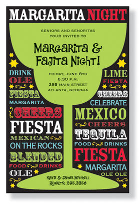 What a Great card for a Margarita Party! This invitation is something everyone will love. Designed with bright colors and cool wording, it will certainly be a hit!  A bright green margarita glass sits at the center for you to fill with the what, where and when your bash is to take place.  Includes white envelopes.
