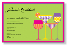 Modern Drinks - fun and decorative cocktails for a perfect cocktails party!  This invitation is created with bold colors and patterns that is sure to draw attention to your guests.  Perfect for a summer get together, bachelorette party, or a girls night out.  Includes a white envelope.