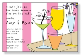 Patio Hour - A fun and brightly colored invitation for your next cocktail party.  Designed with an arrangement of cocktails on a pink and white striped background. Includes white envelope.