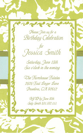 An elegant invitation for any spring, or summer formal event.  This invitation is a layered design that has a beautiful first layer of ecru cardstock with a lime green floral print across the card.  The top layer is an ecru card that has a lime green border and a floral scroll that follows the edging of the card.  Beautiful thick green and light blue ribbons wrap around the invitation to complete this design.  This card does require assembly. If you are ordering personalized product, we can assemble for you for .50 cents per card.  Includes ecru envelopes.