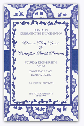 An elegant ecru card stock that is designed with a look of a spanish tile design that flows throughout the backcard.  A top card in ther center is layered on top and center and is accented with a blue border and a floral scroll design.  A beautiful blue ribbon wraps around that center of ther card giving the final touch to complete this fantastic invitation.  Includes an ecru colored envelope.  Assembly is required.