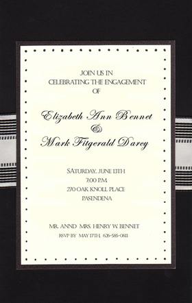 A great invitation if your looking for a formal invitation for a business event or for a mans formal birthday Celebration!  this invitation is simply elegant with a black heavy cardstock.  A top layered card is set in the center that is accented with a black border and black dots around the edging.  A black and white striped ribbon wraps around the card at the center of the invitation.  This requires assembly, if you are ordering personalized product and would like us to assemble it for you please make note in the comments.  A .50 cent charge per card will be added.  Includes ecru envelopes.