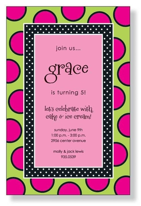 A Fun polka dot design with hot pink dots and a Black inner border that also has a polka dot them.  this makes a great design for a girls birthday party.  Includes a white envelope.