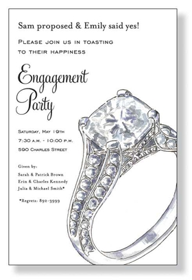 Looking for a great design for an engagement party?  This is it!  A simple invitation that is designed on a white cardstock and has a big diamond ring to the side to let everyone know, she said yes! Includes a white envelope.