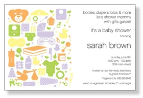 A fun baby shower themed invitation printed only on premium fine quality 80 lb. card stock. Available either blank or personalized. Includes white envelope.