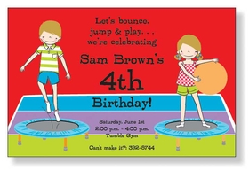 Having a party at a gymnasium? This invitation is perfect! It is decorated with a young girl and boy jumping on trampolines and having a ball! Includes a white envelope.
