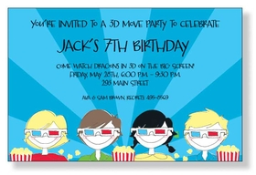 3D party!  Perfect for a childs birthday party theme.  This invitation has a cool background of Far out stripes and kids sitting with their 3D glasses and popcorn in hand! Includes white envelope.
