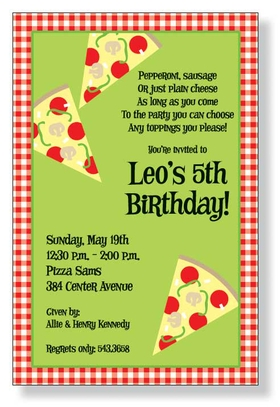 Its Pizza fun for kids and adults! Spread out the table cloths and get ready for a real Italian pizza party with this great invitation. Perfect for kids birthdays filled with pizza and games! A trendy and colorful design printed only on premium fine quality 80 lb. card stock. Easy to print on your inkjet/laser printer (blank)...or we can print for you (personalized). Includes white envelope.