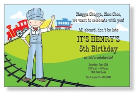 Choo Choo!  Call all his friends aboard the train as your little conductor celebrates his birthday! This card is decorated with a young waving conductor and a train on its tracks in the grassy hills. A trendy and colorful design printed only on premium fine quality 80 lb. card stock. Available either blank or personalized. Includes white envelope.