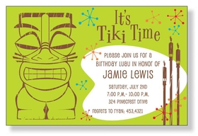 Its tiki time! This way cool invitation is decorated with a big tiki man and tiki torches that boast a very tropical and fun theme. Perfect for any luau celebration! Printed only on premium fine quality 80 lb. card stock. Available either blank or personalized. Includes white envelope.