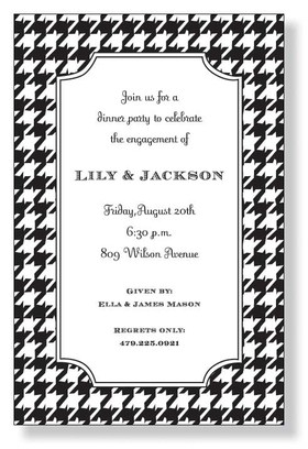 Classic Houndstooth - A classic black and white border design that is a true classic. Its great for almost any event! Use it for anything from business events to rehearsal dinners. If your theme is black and white, this invitation is a perfect fit. A trendy and colorful design printed only on premium fine quality 80 lb. card stock. Easy to print on your inkjet/laser printer (blank)...or we can print for you (personalized). Includes white envelope.