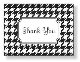 Classic Houndstooth Notecard - Classic Houndstooth Notecard is a perfect match for Classic Houndstooth invitations. Trendy retro designer notecard can be ordered blank (ORDER BLANK) or personalized with any text you specify on front (ORDER PERSONALIZED).  Notecard is blank inside for your personal note and includes white envelope.  MAKES A WONDERFUL GIFT!