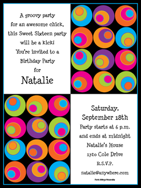 On Sale While Supplies last!<br><br>Colorful and fun! Premium quality cardstock is inkjet/laser compatible and available blank or personalized.  A fun Retro circle design with bright colors that is great fro any retro themed party. Includes white envelope.