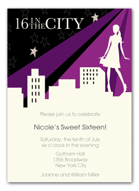 Sixteen in the City Invitation - Perfect for the girl who loves the city, this fun invitation from the Bonnie Marcus Collection features a silhouette and a city skyline with stars in the purple, pink and black sky.  These invitations are expertly printed on luxurious warm white heavyweight paper (recycled and FSC certified).  Warm white envelopes included.