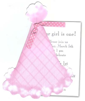 "A birthday hat for your birthday girl! Celebrate your little ones birthday with this pink die-cut party hat. Its perfect for first and second birthdays.<p>Stylish die-cut Pink Plaid Party Hat is attached to imprintable 3.5"" x 5.5"" flat card with pink ribbon provided. White envelopes included. </p><P> <B>FOR PERSONALIZED OPTION ONLY</B> IF YOU NEED US TO ASSEMBLE THE TAG AND GLITTER TO THE DIE-CUT CARD, THERE IS AN ADDITIONAL CHARGE OF $1.00 PER CARD FOR BOTH OR $0.50 PER CARD FOR EITHER GLITTER OR ASSEMBLY (Please specify in the comments to your order that you would like glitter and/or assembly option; also, request an upgrade in order options).</P> If ordered blank with glitter option, glitter will need to be applied with a glue pen (not included)."